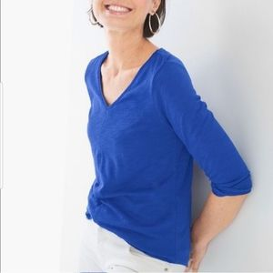 Chico's The Ultimate Tee blue scoop neck slub knit 3/4 sleeve t shirt top S